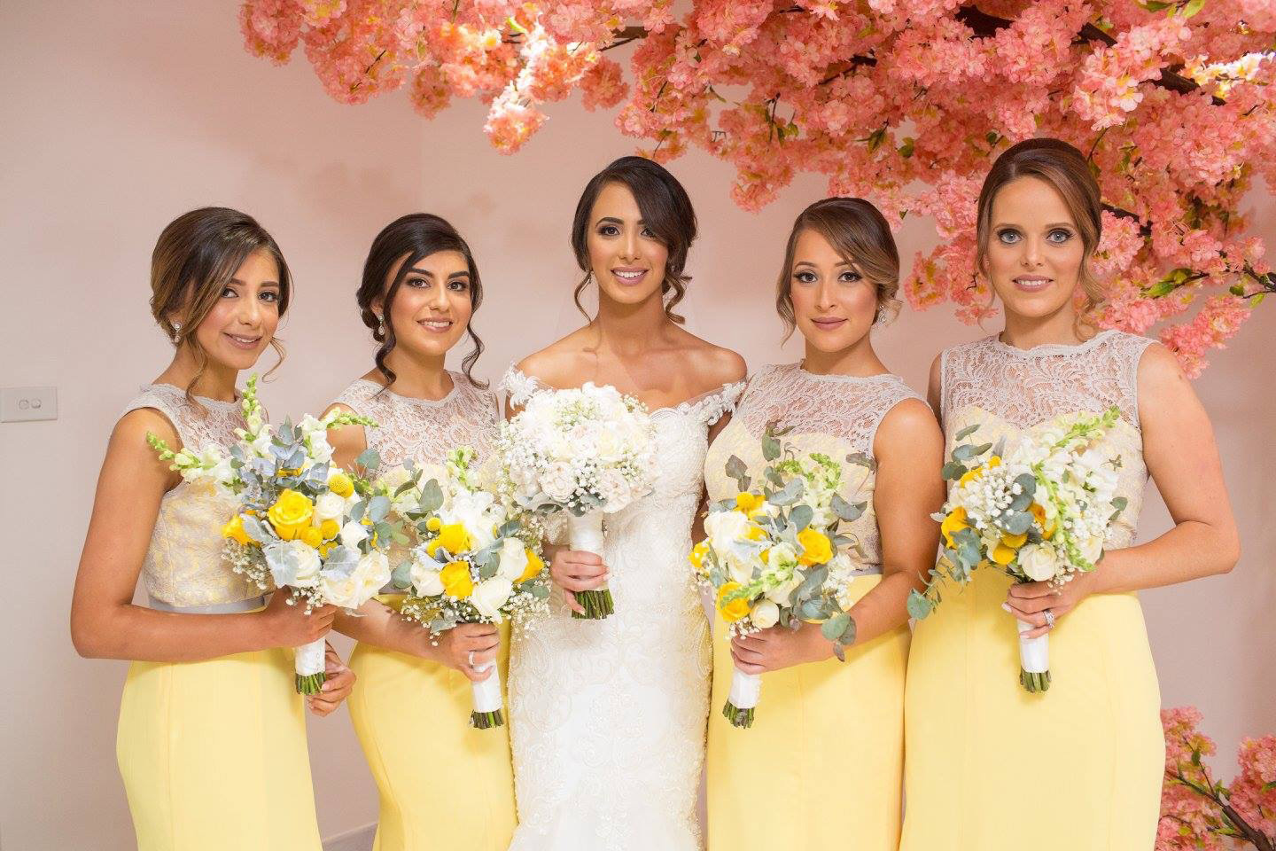 Long Yellow Bridesmaid Dresses with Grey Lace Bodice 7261b53dd
