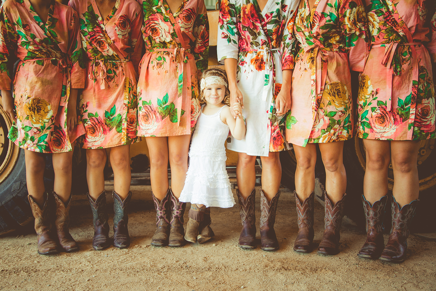 Orange Floral Robes with Cowboy Boots