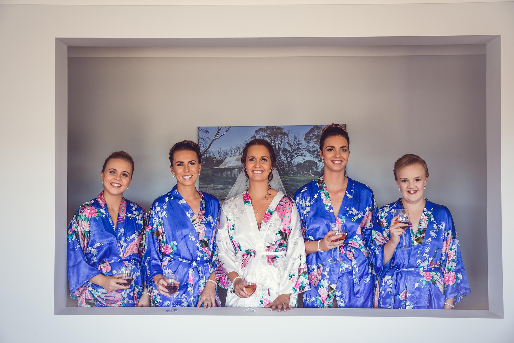 Royal Blue Floral Bridesmaid Robes
