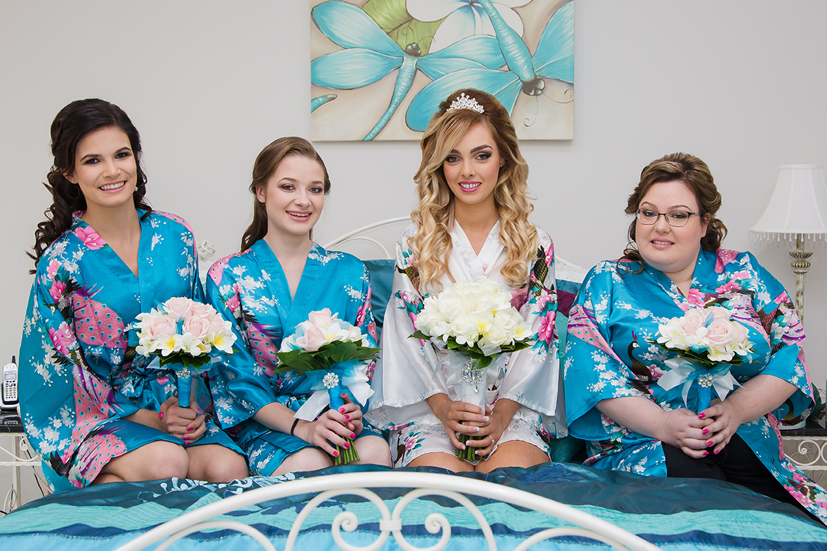 Sky Blue Floral Getting Ready Robes