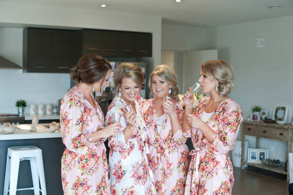 Soft Pink Floral Getting Ready Robes