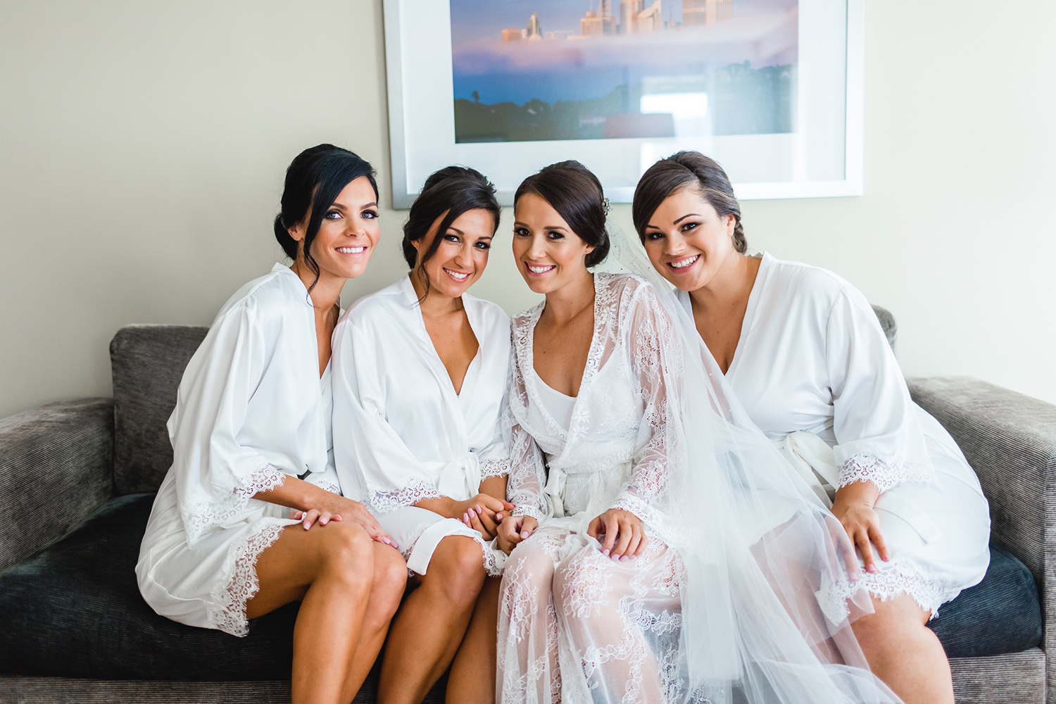 White Silk Robes with Lace Trim