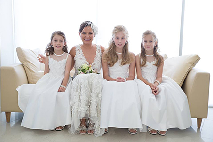 Three Flower Girls with Bride