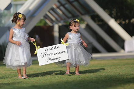 Flower Girls with message to Bride