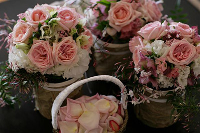 Wedding Flowers, Pink Rose Bouquets