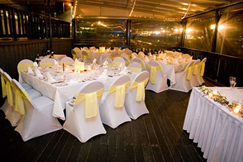 Wedding Reception Chairs with Yellow Ribbons
