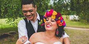 Laughing Wedding Couple, Bride with Flower Headpiece