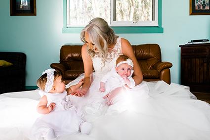 Bride, Belinda Stewart with flower girls