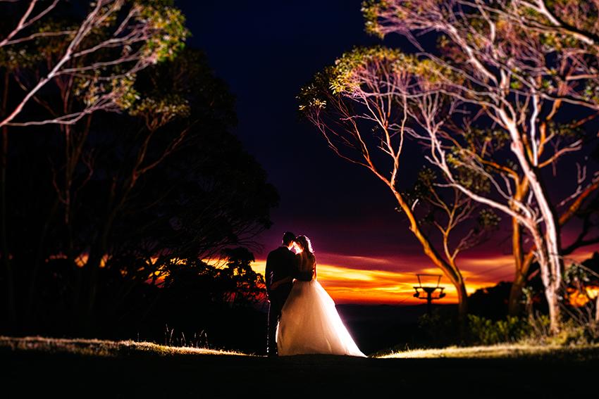 Bride & Groom, Belinda & Nathan Stewart at Sunset