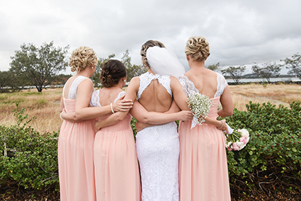 Bride, Emma Lomas with Bridesmaids