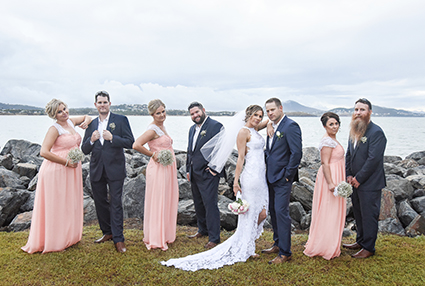 Bride Emma Lomas, with Groom and Bridal Party