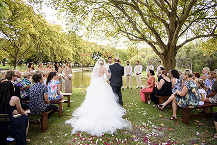 Bride & Groom, Emma & Brian Stevenson with wedding guests