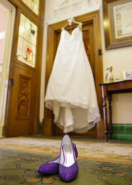 Bride, Mel's wedding dress and purple shoes