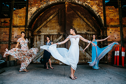 Bride, Mel's wedding dress and purple shoes