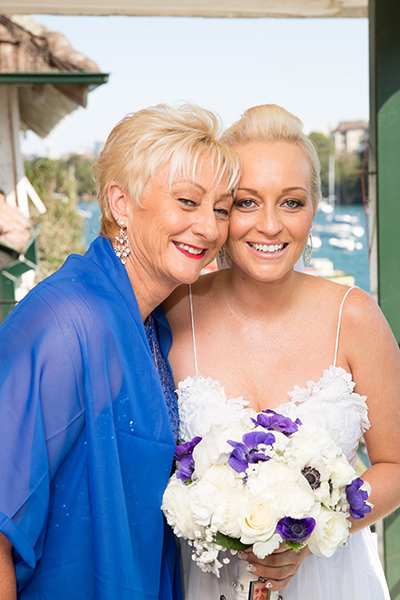 Bride, Samantha Delmege with her mother
