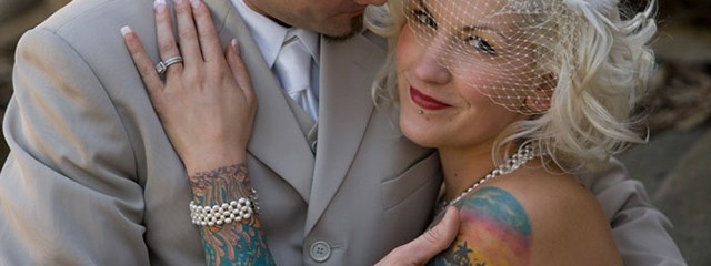Bride with Tattoo Sleeve